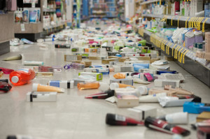 Merchandise is strewn across the floor in a La Habra Walgreens following a 5.1 earthquake centered near La Habra Friday night March 28, 2014.