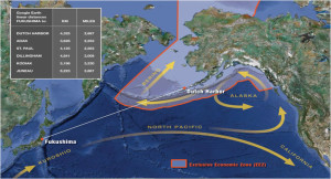 Pacific Currents flowing Fukushima Radiation to Alaska